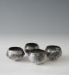 Porcelain bowls, H.9cm, 9.5cm, 9.5cm, 10cm
